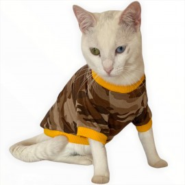 Askeri Oval Yaka Tişört Kedi Kıyafeti Kedi Elbisesi