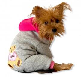 Bear Grey Pink Köpek Tulumu Köpek Kıyafeti