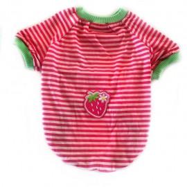 Strawberry Pink Oval Yaka Tişört Kedi Kıyafeti Kedi Elbisesi
