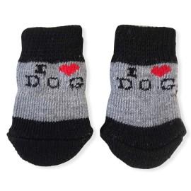 Black Grey Hearts Köpek Çorabı