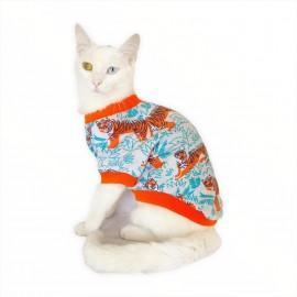 Blue Tiger Oval Yaka Tişört Kedi Kıyafeti Kedi Elbisesi