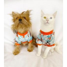 Blue Tiger Oval Yaka Tişört Köpek Kıyafeti Köpek Elbisesi