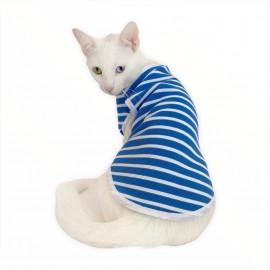 Blue White Stripe Atlet  by Kemique  Kedi Kıyafeti  Kedi Elbise