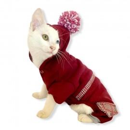 Bordo Ekose Cepli Kedi Tulumu Kedi Kıyafeti