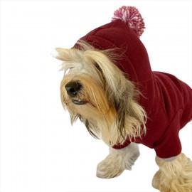 Bordo Ekose Cepli Köpek Tulumu Köpek Kıyafeti