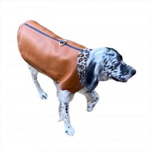 Brown Faux Leather Leo Köpek Ceketi, Orta ve Büyük ırklar için