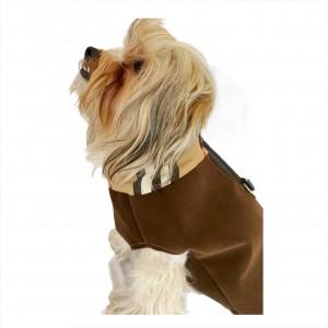 Chamois Koyu Kahve Kaban Mont, Köpekler için Güderi Görünümlü Ceket
