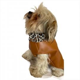 Chamois Leo Kahve Kaban Mont, Köpekler için Güderi Görünümlü Ceket