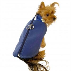 Chamois Mavi Kaban Mont, Köpekler için Güderi Görünümlü Ceket