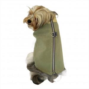 Chamois Su Yeşili Köpekler için Güderi Görünümlü Ceket