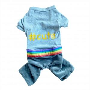 Chique Orange Cute Rainbow Tulum Köpek Kıyafeti, Köpek Elbisesi, Köpek Tulumu