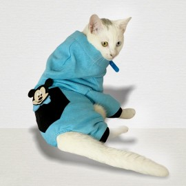 Cute Mouse Blue Kedi Tulumu Kedi Kıyafeti