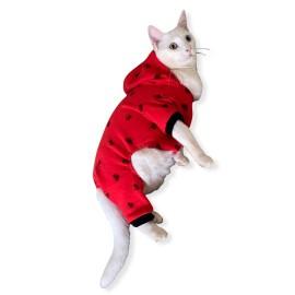 Darky Hearts Kırmızı Kapşonlu Penye Kedi Tulumu