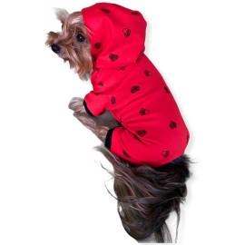 Darky Hearts Kırmızı Kapşonlu Penye Köpek Tulumu