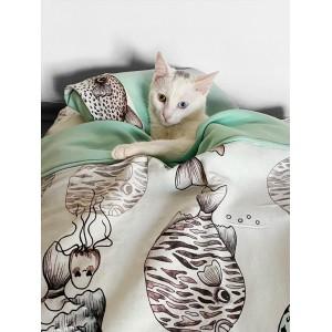 Fishy Kedi Minderi Uyku Takımı Minder Yastık Örtü Set