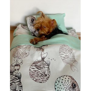 Fishy Köpek Uyku Takımı Minder Yastık Örtü Set