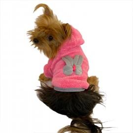 Fluffy Pink Bunny Kapşonlu Sweat by Kemique Köpek Kazağı