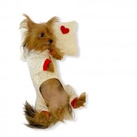 Gold Hearts Penye Tulum Yastık Takım Uyku Set Köpek Tulumu  Köpek Elbisesi