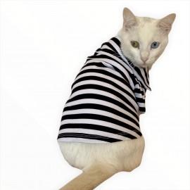 Siyah Beyaz Çizgili Polo Yaka Tişört Kedi Kıyafeti  Kedi Elbisesi
