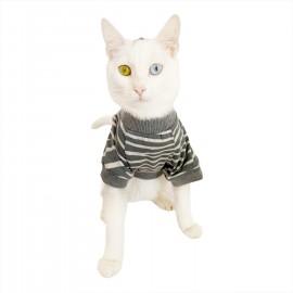 Grey Mist Oval Yaka Tişört Kedi Kıyafeti Kedi Elbisesi