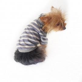 Grey Stripes Oval Yaka Tişört Köpek Kıyafeti Köpek Elbisesi