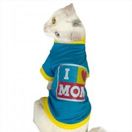 I Love Mom Blue, Oval Yaka Tişört Kedi Kıyafeti Kedi Elbisesi Anneler Günü