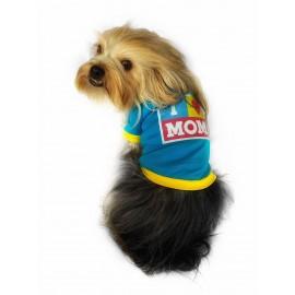 I Love Mom Blue, Oval Yaka Tişört Köpek Kıyafeti Köpek Elbisesi Anneler Günü