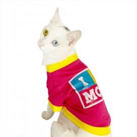 I Love Mom Pink, Oval Yaka Tişört Kedi Kıyafeti Kedi Elbisesi Anneler Günü