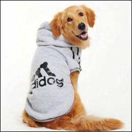 Gri Kapşonlu Adidog Sweatshirt Büyük Köpekler İçin