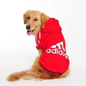 Kırmızı Adidog Kapşonlu Sweatshirt, Orta ve Büyük Irklar için Köpek Kıyafeti,