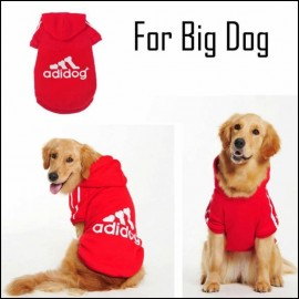 Kırmızı Kapşonlu Adidog Sweatshirt Orta ve Büyük Köpekler İçin