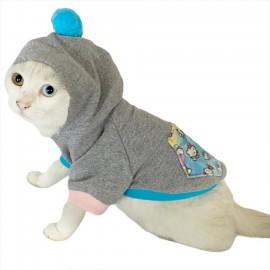 Kitty Grey Kapsonlu Sweatshirt Kedi Süeteri Kedi Kıyafeti