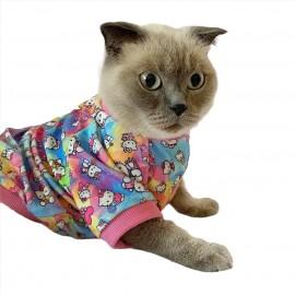 Kitty Oval Yaka Tişört Kedi Kıyafeti Kedi Elbisesi