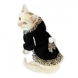 Leopar Kapsonlu Siyah Sweatshirt Kedi Süeteri Kedi Kıyafeti
