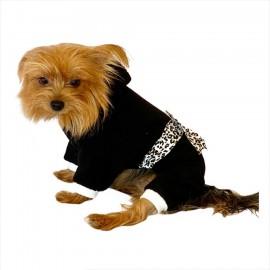 Leopar Siyah Köpek Tulumu Köpek Kıyafeti