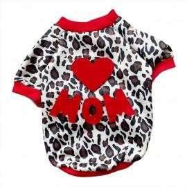 Love Mom Leopar İnce Kedi Ceketi Kedi Kıyafeti Köpek Elbisesi Köpek Modası