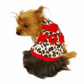 Love Mom Leopar İnce Köpek Ceketi Köpek Kıyafeti Köpek Elbisesi Köpek Modası