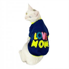 Love Mom Neon Duo,Oval Yaka Tişört Kedi Kıyafeti,Elbisesi