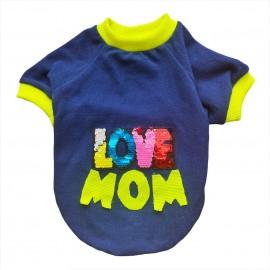Love Mom Neon, Anneler Günü  Oval Yaka Tişört Köpek Kıyafeti Köpek Elbisesi