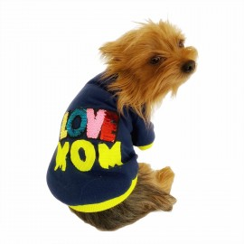 Love Mom Neon Duo,Oval Yaka Tişört Köpek Kıyafeti,Elbisesi