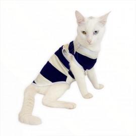 Mega Cream Stripe Atlet  by Kemique  Kedi Kıyafeti  Kedi Elbise