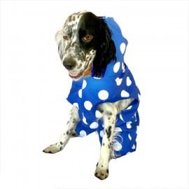 Mega Dots Blue Köpek Yağmurluğu Kapşonlu Yağmurluk Orta ve Büyük Irklar İçin