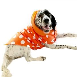 Mega Dots Orange Köpek Yağmurluğu Kapşonlu Yağmurluk Orta ve Büyük ırklar için