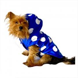 Mega Dots Blue Yağmurluk Kapşonlu  Köpek Yağmurluğu