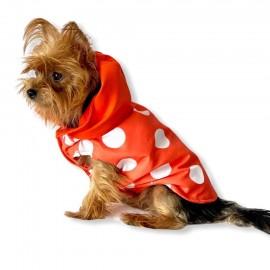 Mega Dots Orange Yağmurluk Kapşonlu  Köpek Yağmurluğu