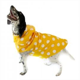 Mega Dots Yellow Köpek Yağmurluğu Kapşonlu Yağmurluk Orta ve Büyük Irklar için