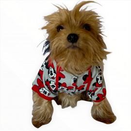 Mickey Red İnce Köpek Ceketi Köpek Kıyafeti Köpek Elbisesi Köpek Modası