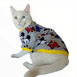 Yellow Mickey Oval Yaka Tişört Kedi Kıyafeti Kedi Elbisesi
