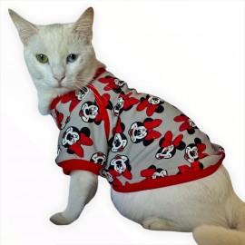 Red Mickey İnce Kedi Ceketi Kedi Kıyafeti Kedi Elbisesi Kedi Modası
