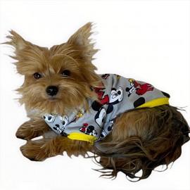 Miki Sarı Oval Yaka Tişört Köpek Kıyafeti Köpek Elbisesi